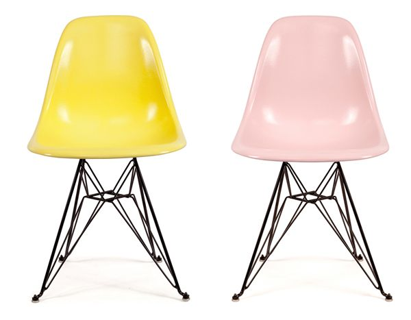 Modernica Fiberglass Shell Chairs In Cherry Blossom And Peeps