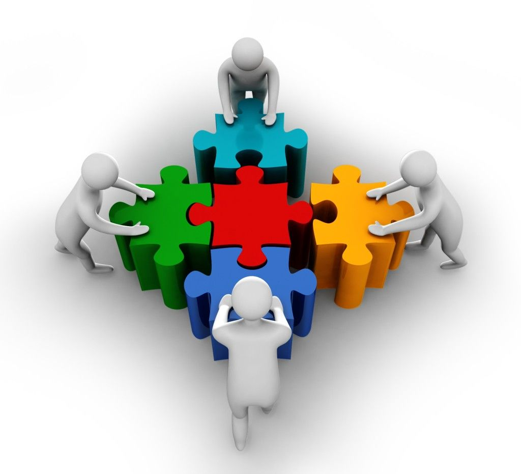 Team Members Pushing Puzzle To Build Shape Stock Photo Slide01 Teamwork Altered Book Art Animated Clipart