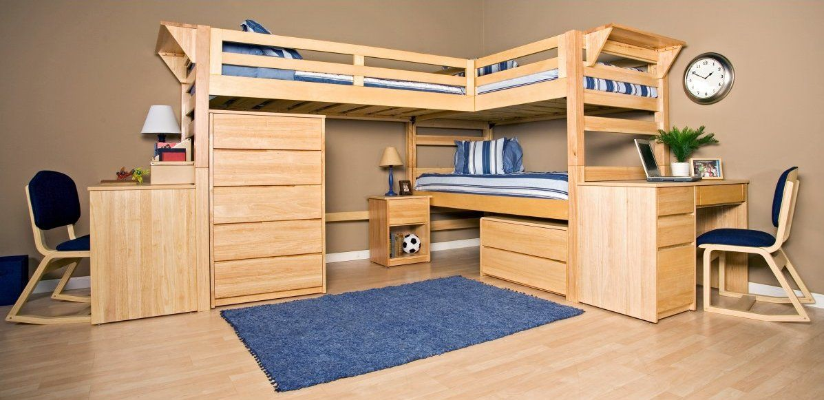Double Bed Bunk Beds With Desks Underneath Bunk Bed With
