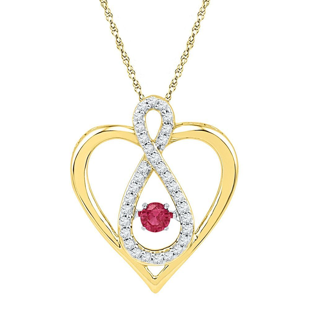 10kt Yellow Gold Womens Round Lab-Created Ruby Diamond Infinity Heart Pendant 1/4 Cttw 101390