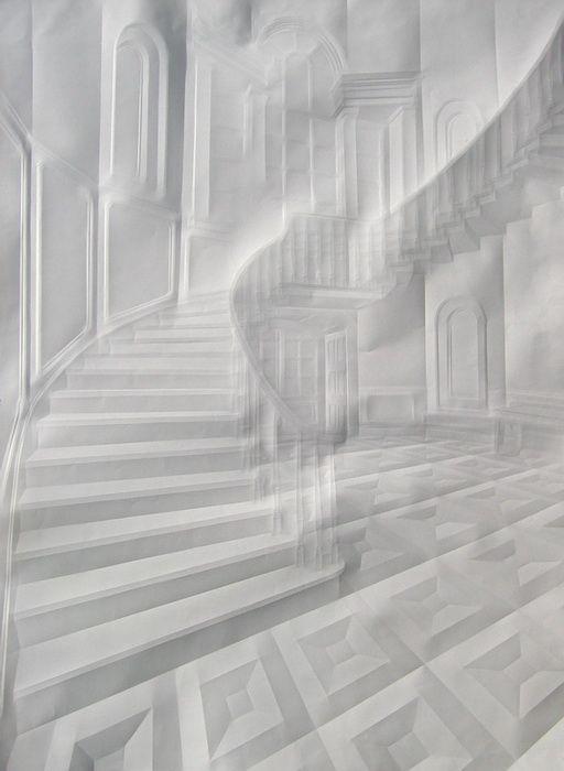 Simon Schubert, o.T. ( Rundtreppe und Raum),2008,100x75