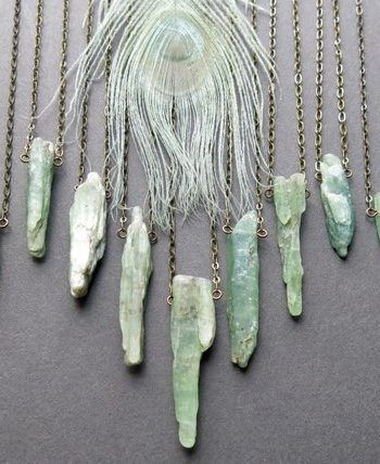 Photo of For Sale: Green Kyanite Necklace – Raw Crystal Necklace -…