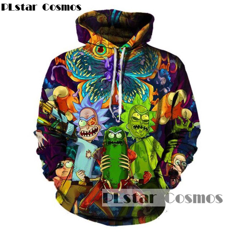 Plstar Cosmos Crazy Scientist Rick Pullover Sweatshirts Men Women Hoodies Cartoon Rick Morty Print Hooded Hoodie Hoodie Cartoon Hoodies Womens Fashion Hoodies