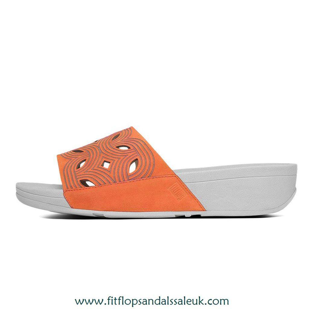 0df8e52b5c1 Fitflop Bahia™ Nubuck Slide Sandals Sunset Red 883945944772
