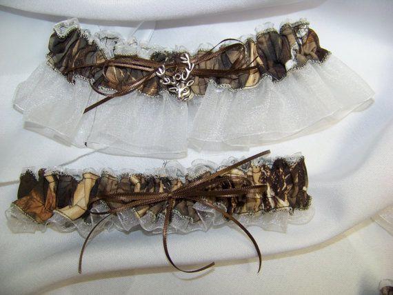 Max 4 Garter WHITE Camouflage Sheer Camo Bridal Set Black Pink Brown Ivory Blue Any Color Wedding