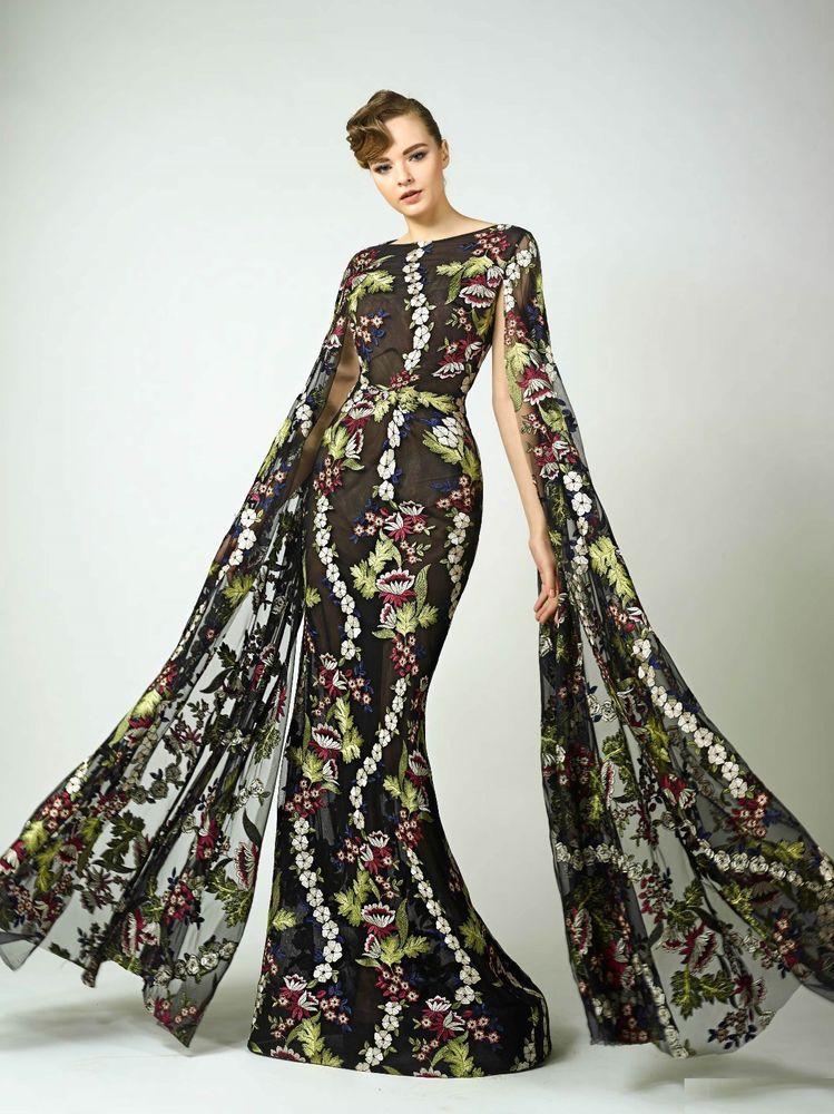 NWT Designer Black Floral Long Sleeve Evening Gown | Pinterest ...