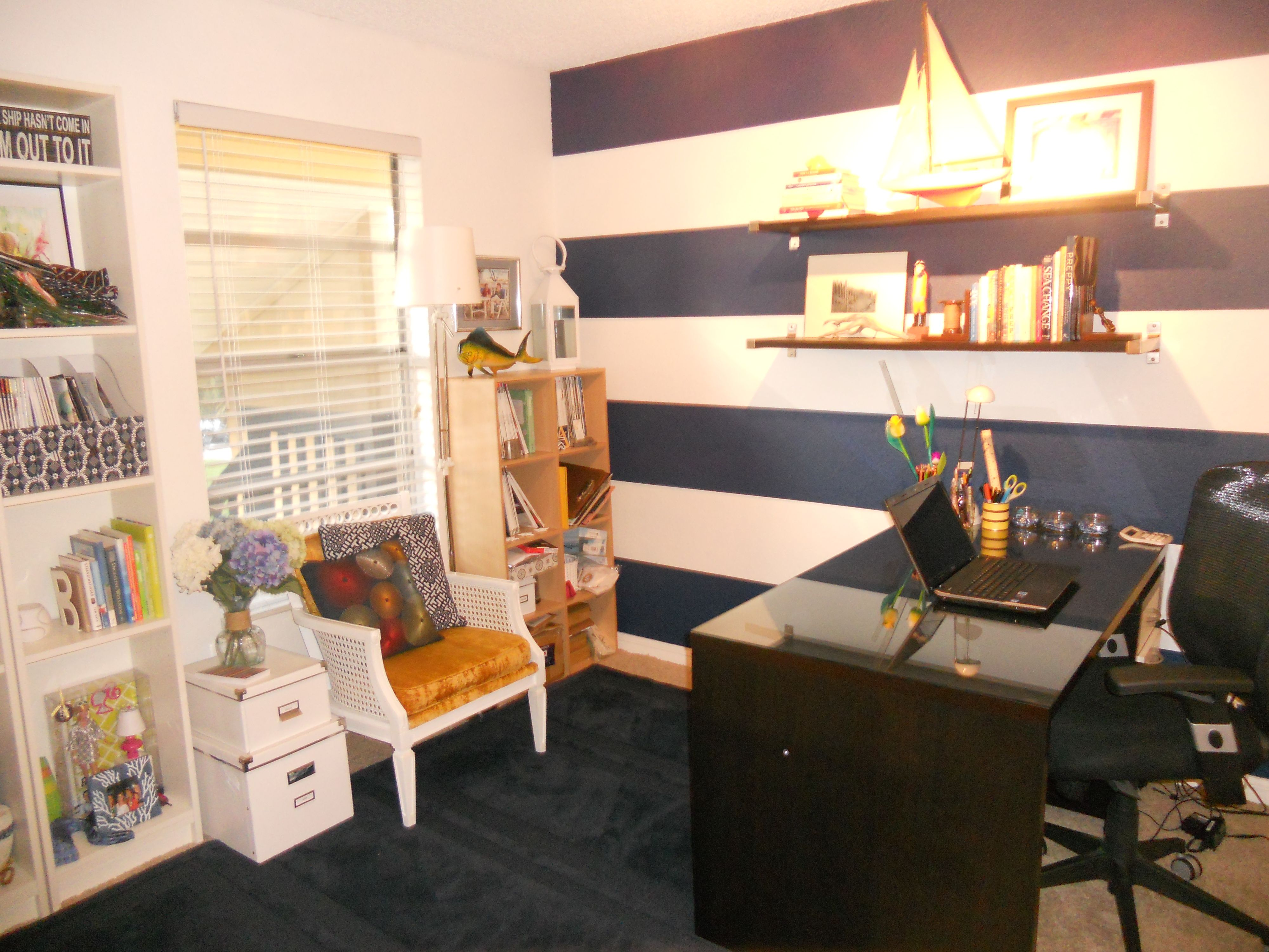 Anchored Style Home Office #Nautical #Prep #Inspirational #Stripes