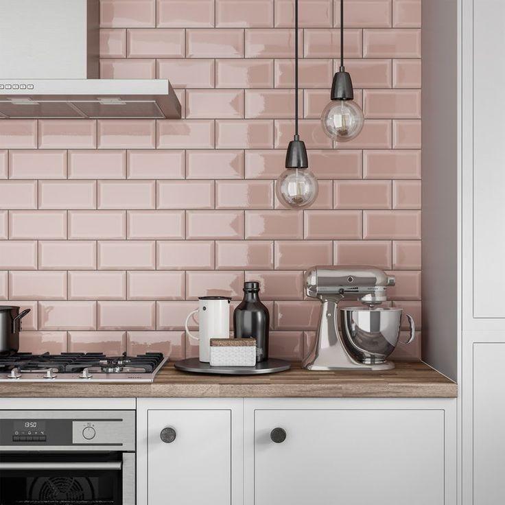 Metro Subway Blush Pink Bevelled Gloss Wall Tile 100mm X 200mm Kitchen Wall Tiles Pink Kitchen Pink Kitchen Walls