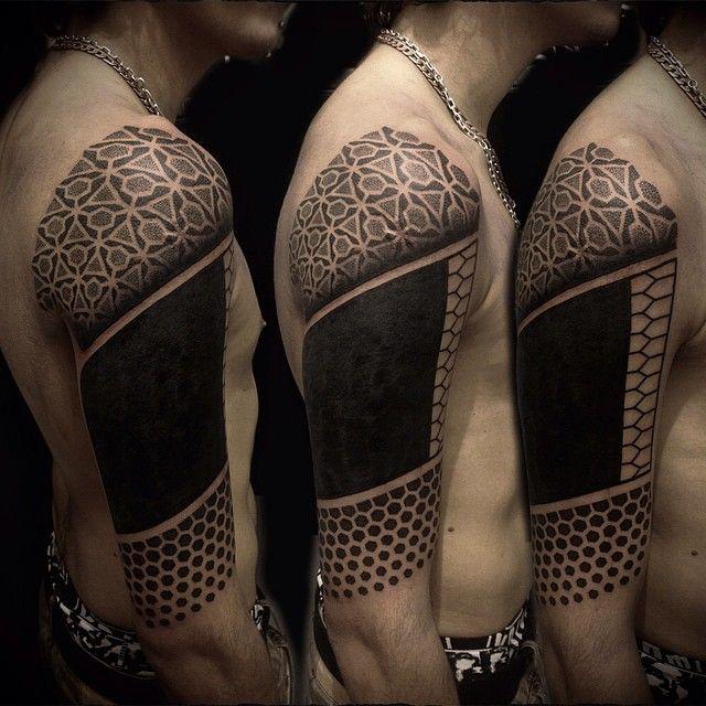 Upper Arm Half Sleeve Tattoo Designs: Geometric And Dotwork Half Sleeve Tattoo By Ivan Hack