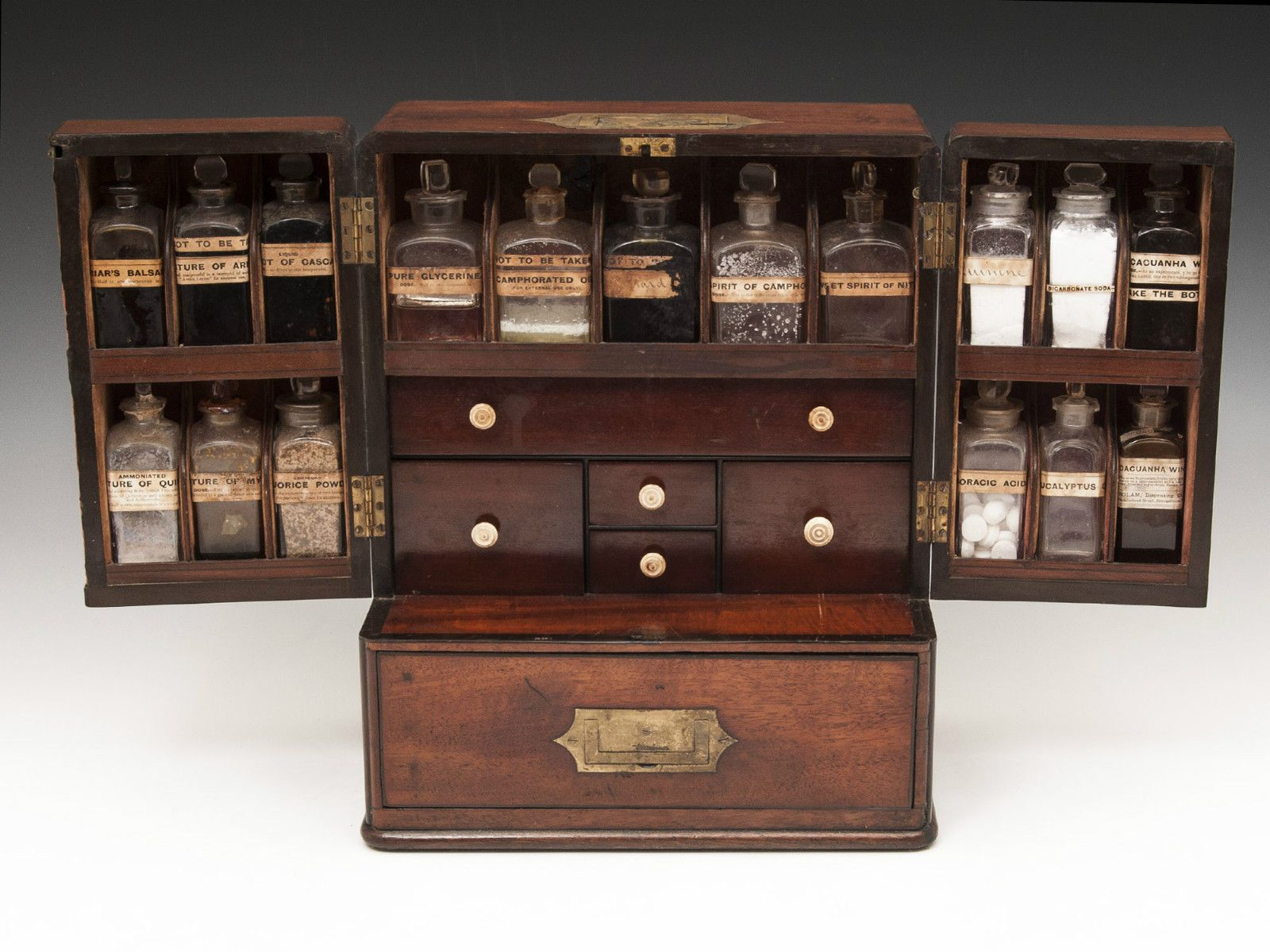 Antique Mahogany Apothecary Medicine Pharmacy Chemist Box In Antiques, Woodenware,