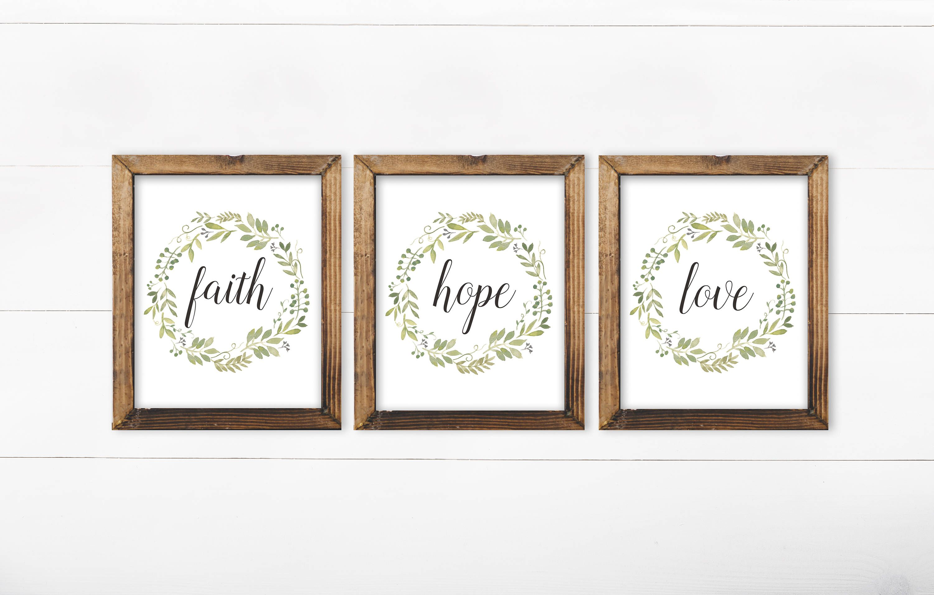 Faith Hope Love Set Of 3 Printable Art French Country Decor Set