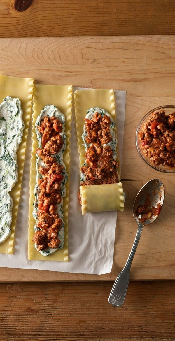Meat-Lovers' Lasagna Roll-Ups Roll up a big batch of these meaty lasagna bundles, then freeze them to have on hand for easy weeknight dinners. If you're making ahead, you won't use an entire jar of pasta sauce when assembling the roll-ups, so pop that in a freezer-safe container and thaw along with the roll-ups. To save even more time, use