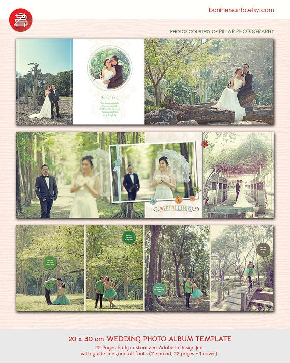 20 Pages Wedding Photo Album Design Template 12x15 modern and ...