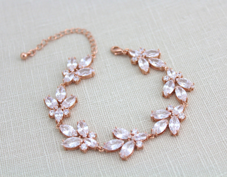 Rose gold bracelet bridal bracelet leaf bracelet bridal jewelry