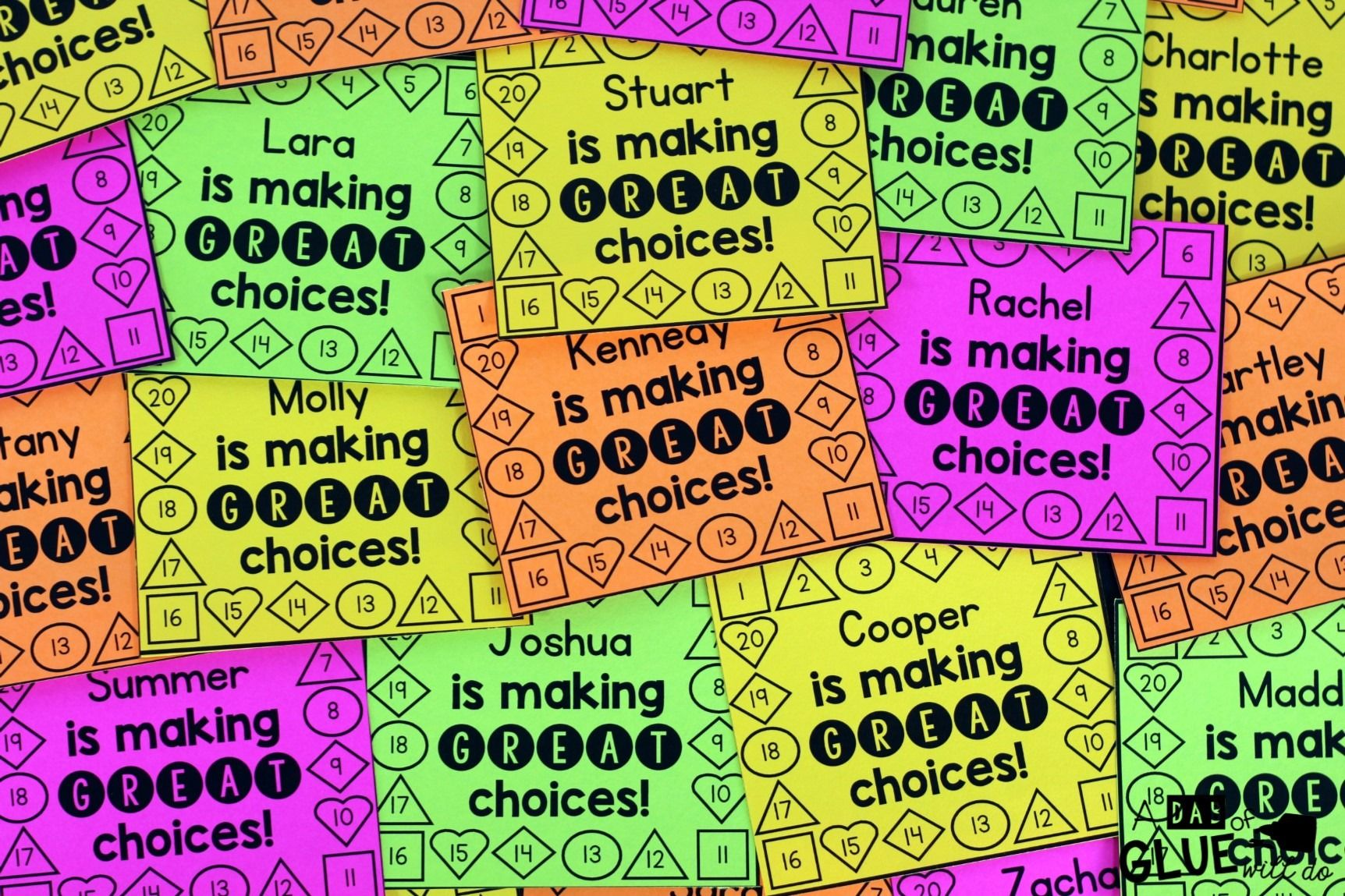 Behavior punch cards for classroom management behavior