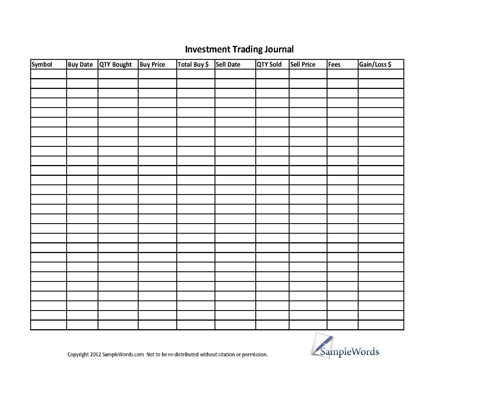 Investment Stock Trading Journal Spreadsheet Investing Trading