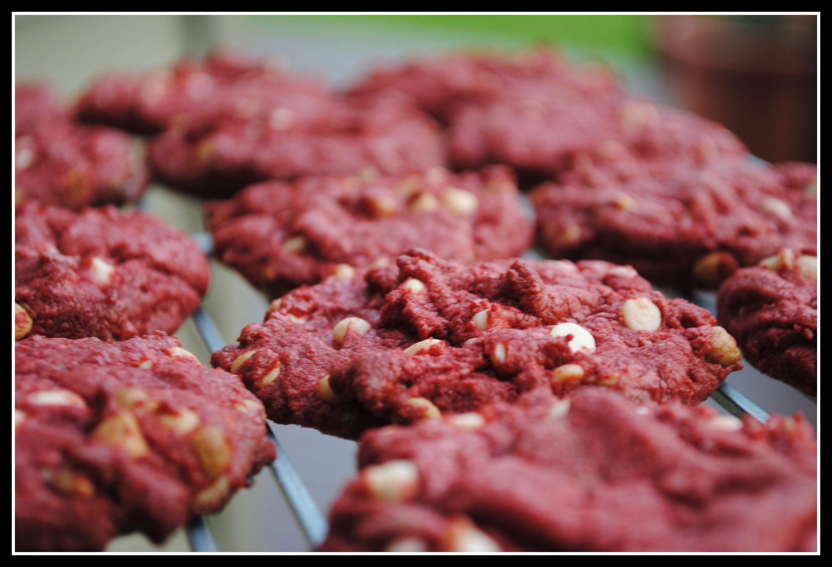 Red Velvet Cookies with White Chocolate Chips... Finally can use that box of red velvet mix!