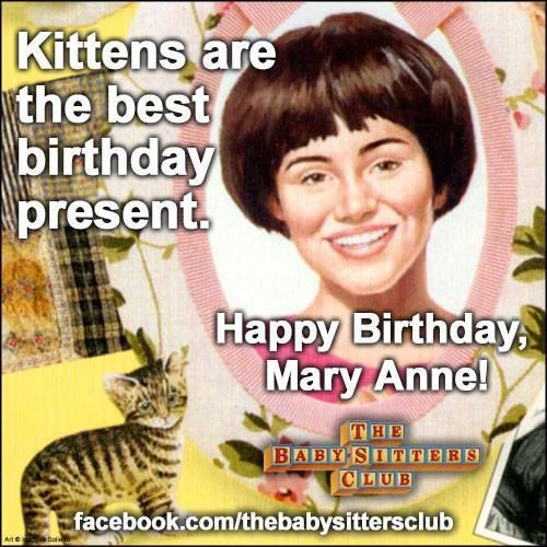 The Baby-sitters Club Blog • thebaby-sittersclub: A birthday greeting to Mary...