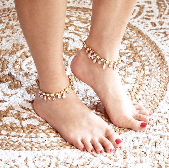 Diamante /& Pearl with a Heart Beach  Boho Summer Wedding Wedding Anklet Bridal Anklet Something Blue