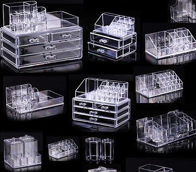 Cosmetic organizer makeup drawers display box acrylic clear cabinet cases set s3 cajas de - Organizadores cajones ikea ...