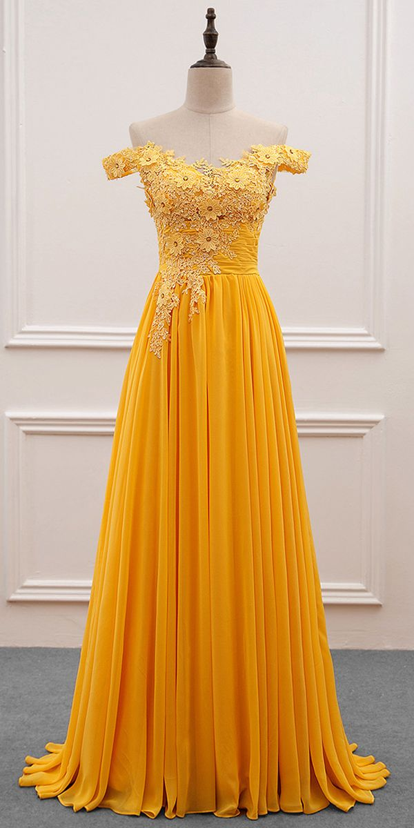 [121.19] Fascinating Tulle & Chiffon Off-the-shoulder Neckline A-Line Prom Dress With Beaded Lace Appliques
