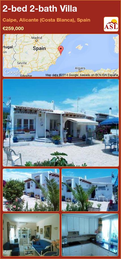 2-bed 2-bath Villa in Calpe, Alicante (Costa Blanca), Spain ►€259,000 #PropertyForSaleInSpain
