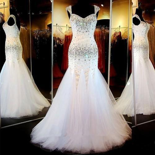 New Style Crystal Beads Cap Sleeve Sweetheart White Tulle Vestidos De Festa Prom Dresses 2015