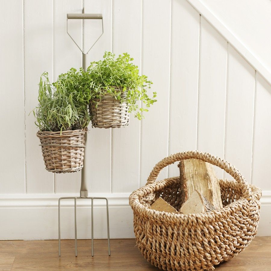 This Large Decorative Planter Is Styled As A Garden Fork Ed With Two Lined Willow Plant Pots It Perfect For Adding Whimsical Element To