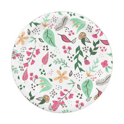 Modern hand drawn spring floral pattern pink green paper plate | Green paper  sc 1 st  Pinterest & Modern hand drawn spring floral pattern pink green paper plate ...