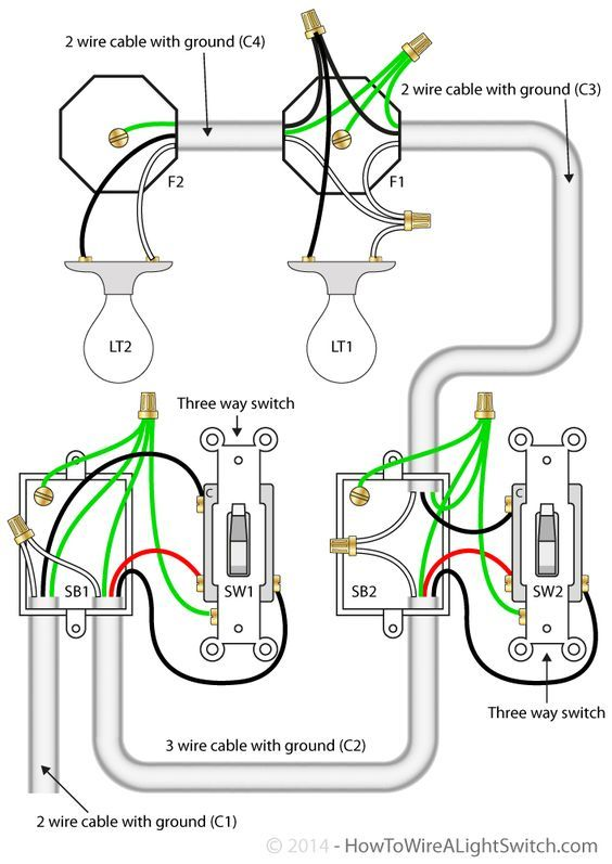 3 Way Switch Single Pole Wiring Diagram: 3 way switch with power feed via the light switch (two lights ,Design