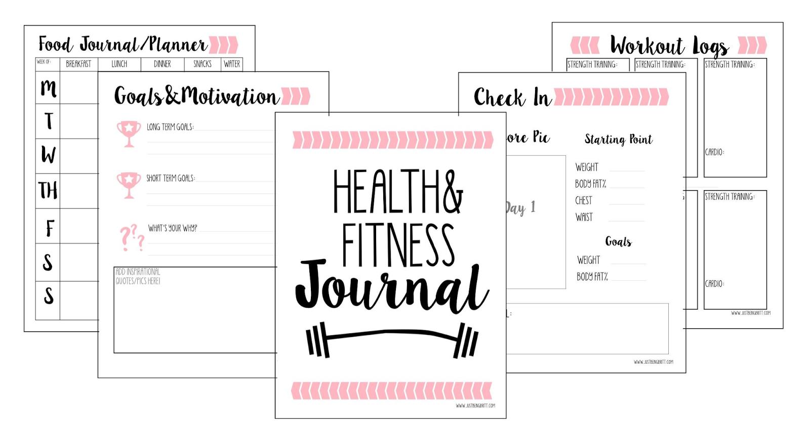 free fitness journal planner printable gift planner pinterest