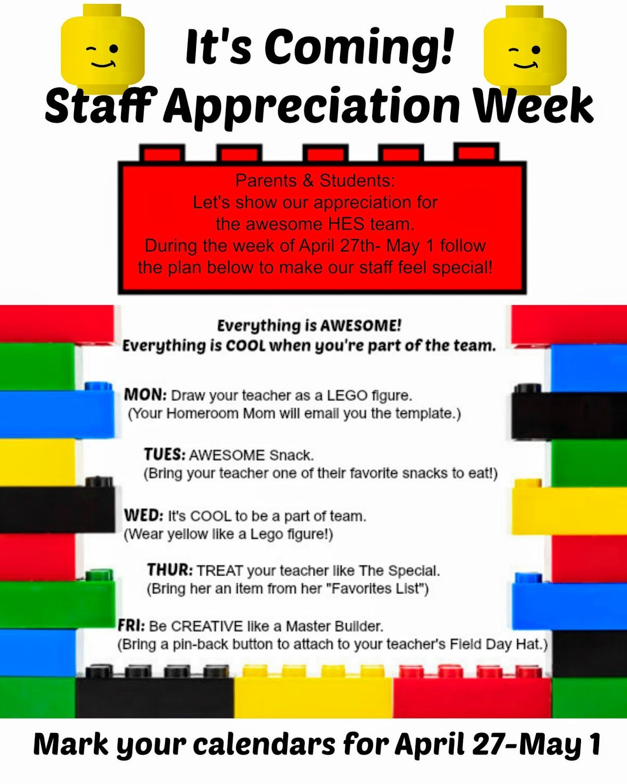 Teacher Appreciation Week 2017 Texas: Crafty Texas Girls  Staff Appreciation  Lego Theme   school stuff    ,