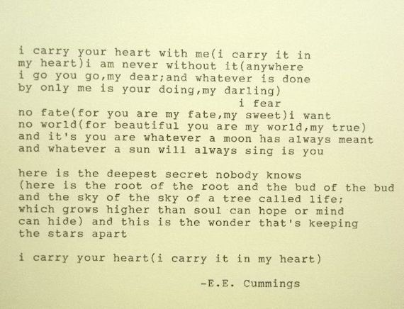 e e cummings i carry your heart poem typed on typewriter on  e e cummings i carry your heart poem typed on typewriter on 15 00