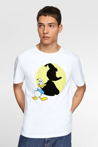 7169c689e5 ZARA - Male - T-shirt with combined ©disney print - White - S in ...