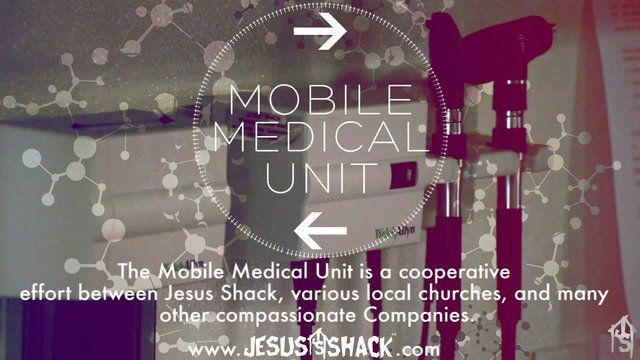 The Mobile Medical Unit is a cooperative effort between Jesus Shack, various local churches and many other compassionate Companies. It is a free medical clinic on wheels that seeks to confidentially aid those in the community who are uninsured.