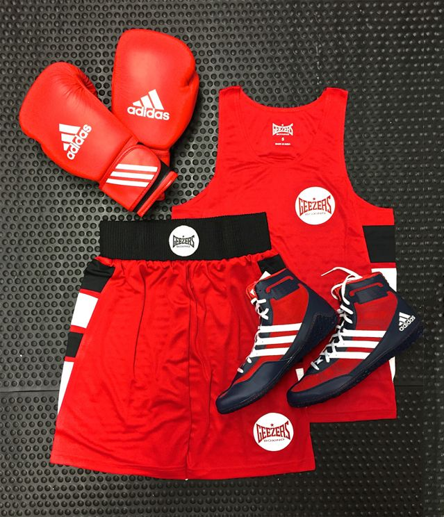 70dcc64723c7 Complete the look with  - Adidas Aiba Contest Boxing Gloves - Red - Geezers  Elite Amateur Shorts   Vest Set - Adidas Mat Wizard 3 Boot ...