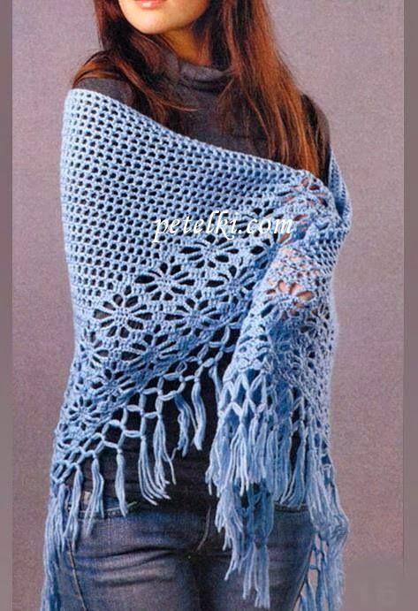 Elegante Fácil Crochet: Crochet Xale Padrão - Crochet clássico ...