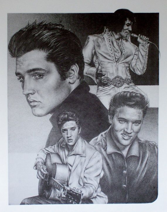 Elvis presley original sketch prints poster size black white features elvis over