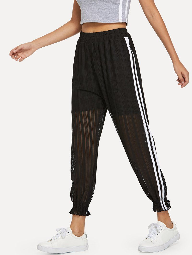 1845a4bba744f0 Striped Tape Side Sheer Mesh Panel Pants   See-Through   Mesh panel ...