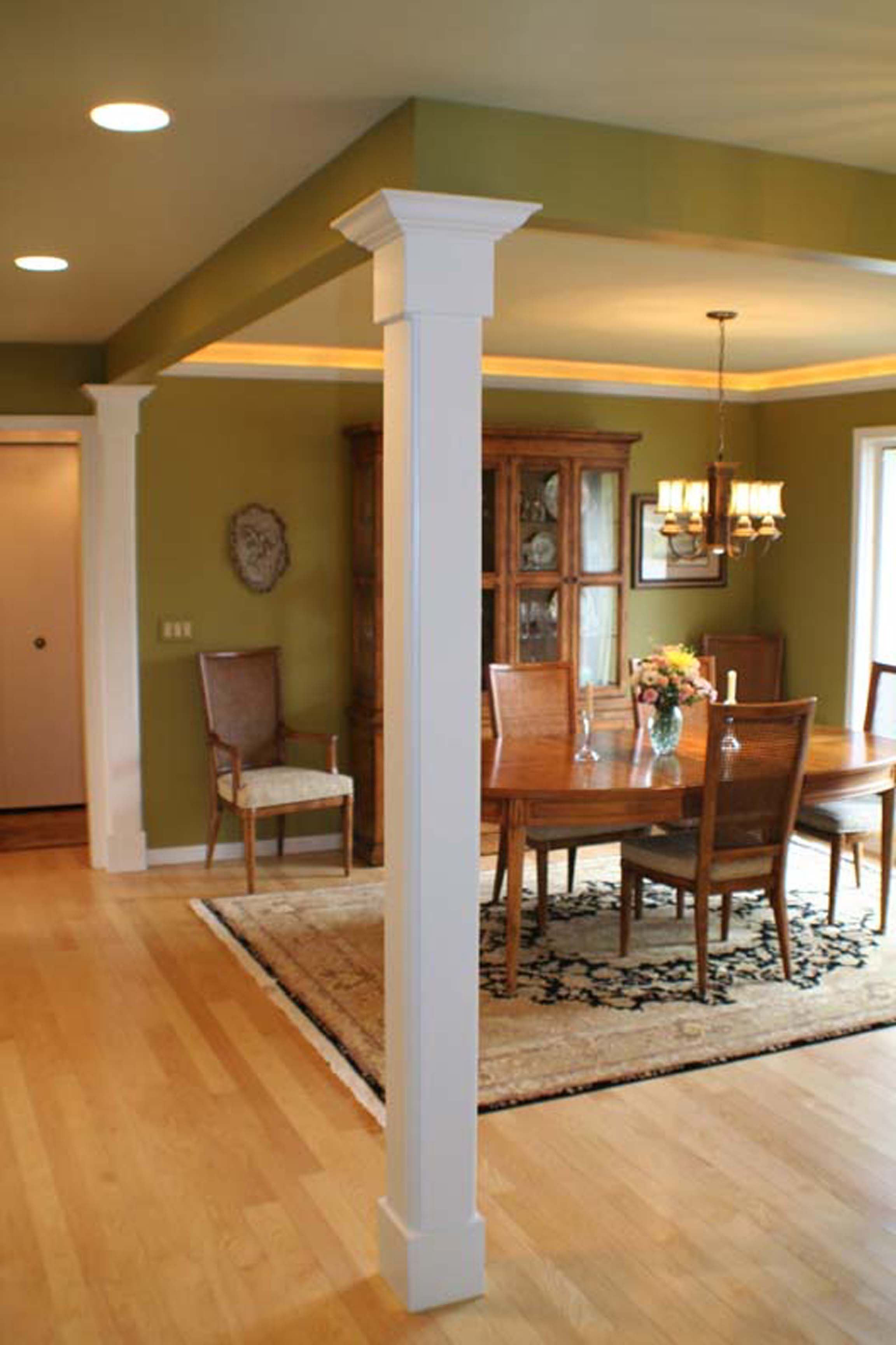 After tearing down the confining dining room walls we Interior columns design ideas