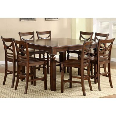 9 Piece Dark Wood Counter Height Set | Hamilton Counter Height Dining Set    9
