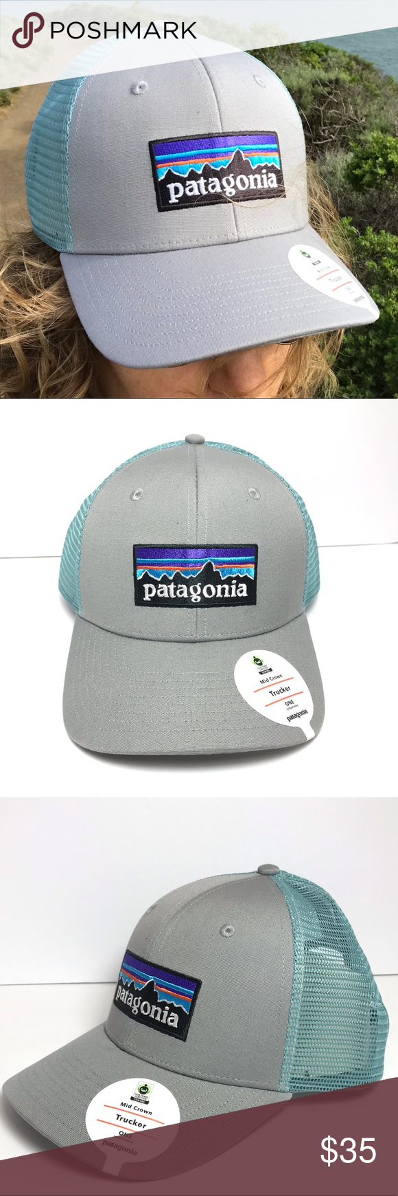 b865fa10 Patagonia Mis Crown Trucker Hat Patagonia P-6 Logo Trucker Hat in Drifter  Grey and