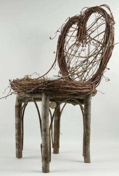Handmade Grapevine Amp Birch Heart Back Chair 24in Grape