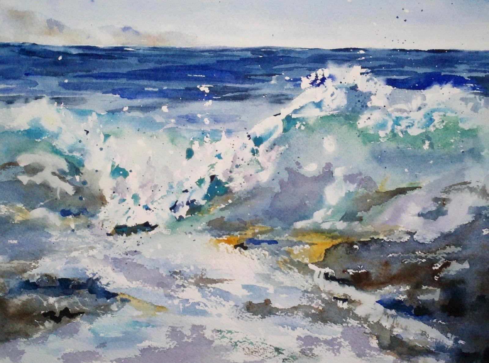 """Crash!"" original watercolor painting by Julie Hill (9"" x 12"")"