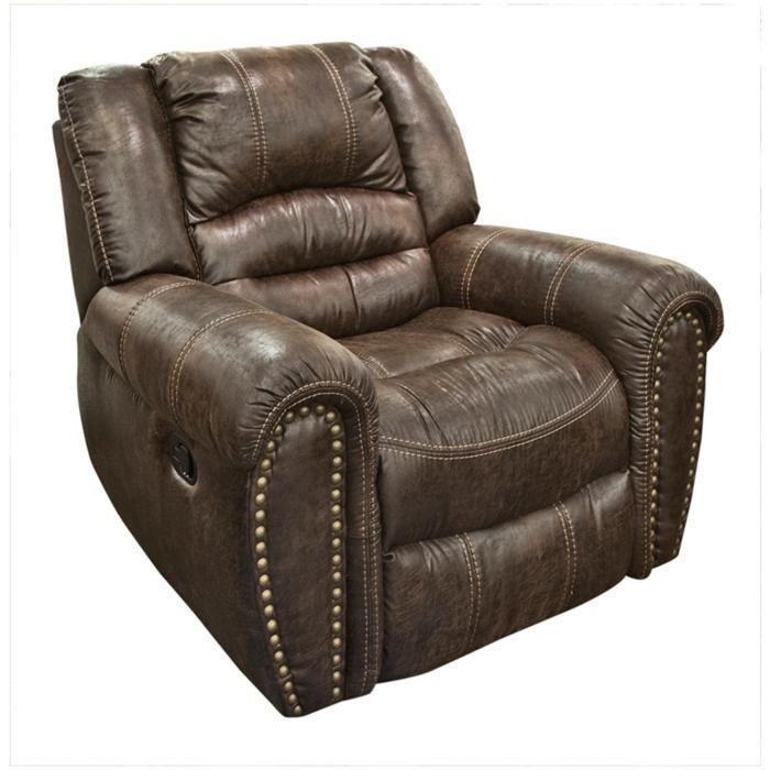 Downtown Brown Faux Leather Glider Recliner Nebraska Furniture
