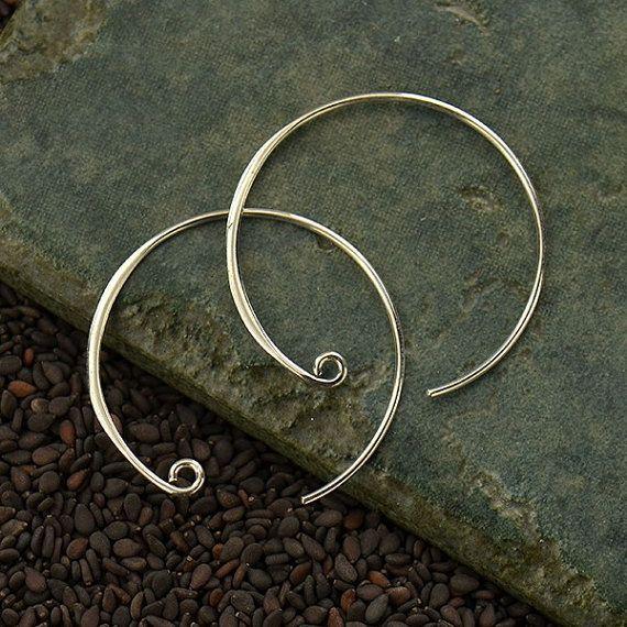 Curled Hoop Earring Finding  Large - C3004 - Findings, Hoop Style