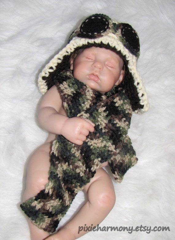 Newborn Baby Boy Aviator Camo Hat w Goggles and Scarf - Fly - Airplane Hat - Photo Prop - ANY Colors - Earflap Hat - AG Doll Clothes #boydollsincamo