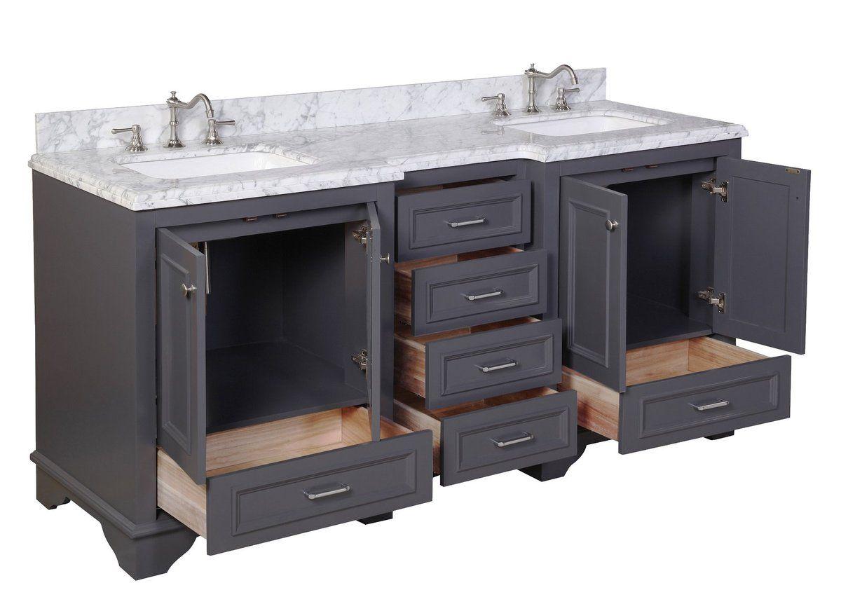 Nantucket 72 Inch Double Vanity With Carrara Marble Top Double Vanity Bathroom Bathroom Vanity Vanity
