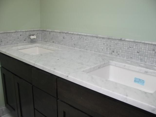 Bianco Carrara Marble Vanity Tops. Donu0027t Like The Backsplash.