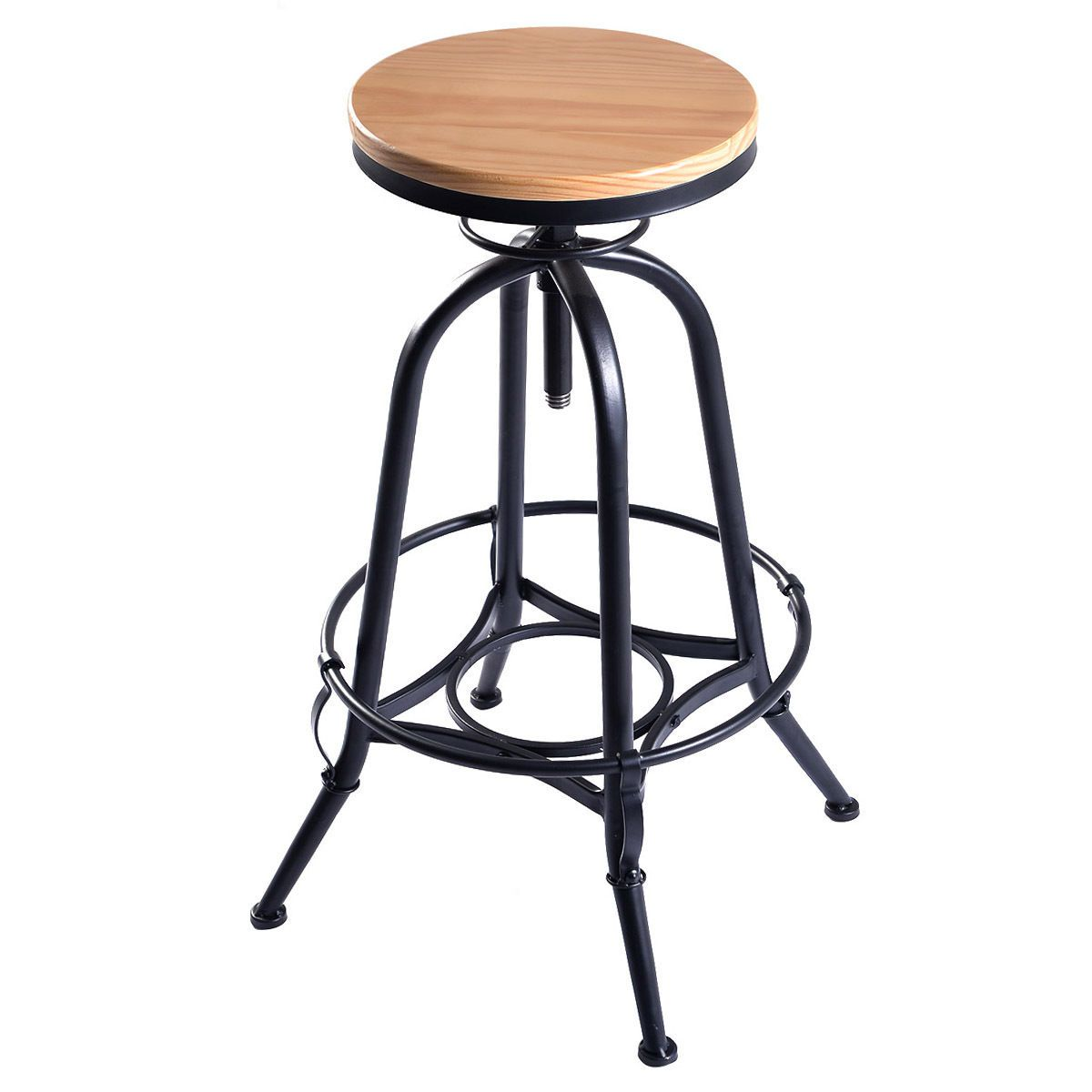 vintage bar stool metal frame wood top adjustable height swivel industrial new